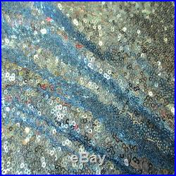10 Yard Lot Baby Blue 3mm Sequins 2 Way Stretch 100% Polyester Mesh Fabric 56W