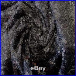 10 Yard Lot Black 3mm Sequin 2 Way Stretch 100% Polyerster Mesh Fabric 58w