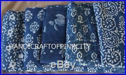 10 Yard Mix Lot Indian Natural Indigo Blue Fabric Hand Block Print Dabu Fabric W