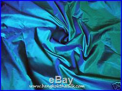 10 Yards Lot Teal 100% Silk Fabric Material 2tones Bridesmaid Dress Drape Craft