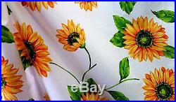 15 YARD LOT Large White Summer Sunflower Theam Floral Poly Cotton Fabric 60