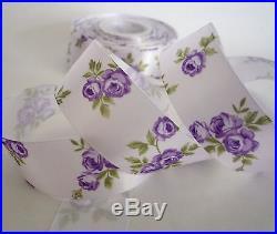 1-1/2(38mm) White Elegant Rose Flower Satin Ribbon Lot Bow 1 Yard Hairbow