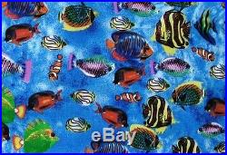 1 yard fish lots swimming colorful ocean blue quilt fabric big and little cotton