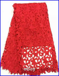 2019 African Party Dress Orange Cord Lace Fabric High Quality Mesh Lace Guipure