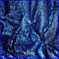 20 Yard Lot Royal Blue 3mm Sequin 2 Way Stretch 100% Polyerster Mesh Fabric 58w