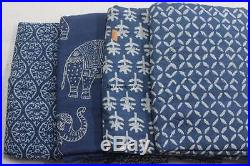 20 Yard Mix Lot Wholesale Price Indigo Blue Fabric India Hand Block Print Fabric