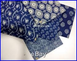 25 Yard Wholesale Lot Hand Block Print Cotton Fabric Indian Indigo Blue Fabric