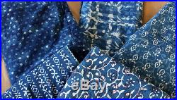 25 yards MIX Lot Hand Block Dabu Print Indigo Dye Cotton Fabric Natural Dye KH