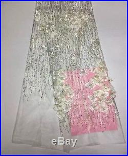 3d Gorgeous Embroidered Pearls Stones Floral Bridal Tulle Fabric 5yds Lot