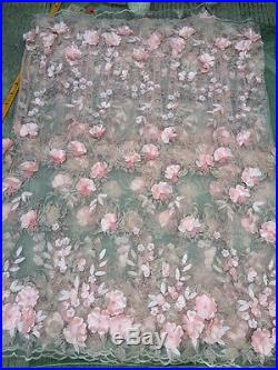 3d Gorgeous Embroidered Sequince Beads Floral Bridal Soft Tulle Lace 5yds Lot