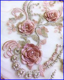 3d Gorgeous Embroidery Floral Pearls Bridal Dress Tulle Fabric 5yds Lot