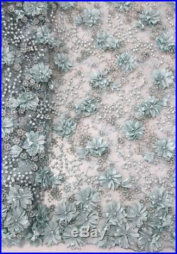 3d Handmade Embroidery Pearl Stones Floral Bridal Tulle Mesh Fabric 5yds Lot