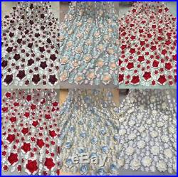 3D High Quality Swiss French Tulle Beaded Lace African Lace Fabric 5yards/Lot
