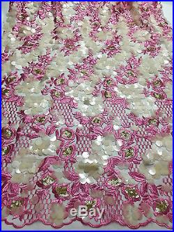 3d Latest Embroidered Floral Sequence Bridal Tulle Mesh Lace Fabric 5yds Lot