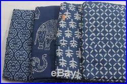 40 Yard Mix Lot Indigo Fabric Cotton Hand Block Print Fabric Indian Natural Dyed
