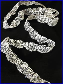 4.5 Yard Lot, Flower and Swirl Design Embroidered Organza Trim, Ivory, 1.5 inch