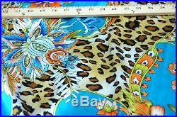 4 YARDS TURQUOISE BLUE ANIMAL PRINT & FLORAL SMOOTH SATIN FABRIC 48W LOTS