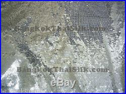 50 YARDS SILVER 5mm SEWN ON SEQUINS SATIN FABRIC WHOLESALE LOT