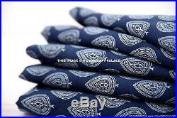 50 Yard Wholesale Lot Block Print Indian Cotton Indigo Blue Fabric Sewing Dress