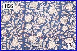50 Yards Fabric Cotton Natural Hand Block Print Dress India. H26