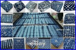 50 Yards Mix Lot Indian Indigo Blue Fabric Sanganeri Hand Block Print Fabric