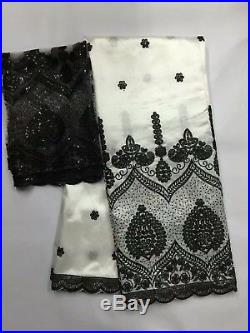 5Y White African George Lace Fabric French Tulle Net Sequins Lace Textile Styles