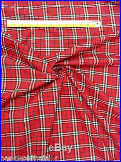 5 YARDS LOT RED WHITE BLACK PLAID TARTAN PRINT COTTON BLEND FABRIC 44W