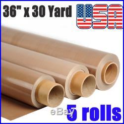 5pack 36x30 Yard Self-Adhesive Teflon Fabric Sheet Roll 5Mil Heat Resistant