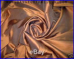 6 YARDS LOT BRONZE BROWN 100% AUTHENTIC SILK FABRIC