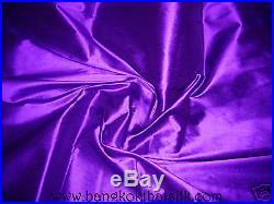 6 YARDS LOT DARK ROYAL PURPLE 100% AUTHENTIC SILK FABRIC for DRESS BLOUSE DRAPE