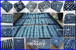 80 Yard Mix Lot Indian Natural Indigo Blue Fabric Hand Block Print Dabu Fabric W
