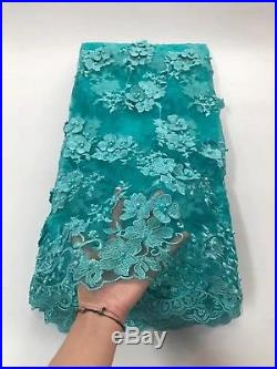 African Tulle Beaded Lace Fabric 3D Applique Wedding Dress French Lace Swiss Net