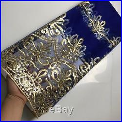 Blue African Lace Fabric High Quality Organza French Voile Lace Sequins Tulle 5Y