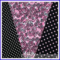 BonEful Fabric KNIT LOT 6 Yards Lycra Dance Ballet Black Pink Dot Swirl Girl Set