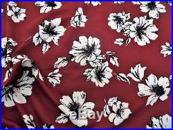 Bullet Printed Liverpool Fabric 4 way Stretch Cranberry Ivory Floral K703