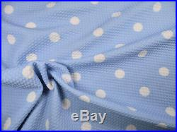 Bullet Printed Liverpool Textured Fabric Stretch Baby Blue Ivory Polka Dot P32