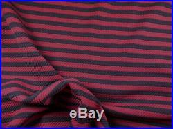 Bullet Printed Liverpool Textured Fabric Stretch Burgundy Wine Black Stripe X30
