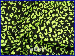 Bullet Printed Liverpool Textured Fabric Stretch Cheetah Black Neon Green O30