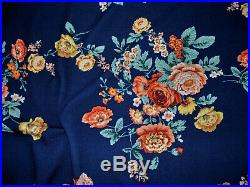 Bullet Printed Liverpool Textured Fabric Stretch Navy Orange Peach Floral W32