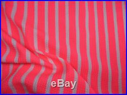 Bullet Printed Liverpool Textured Fabric Stretch Neon Pink White Sm Stripe O41