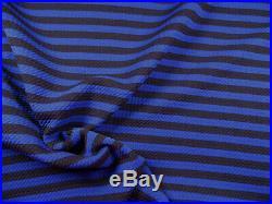 Bullet Printed Liverpool Textured Fabric Stretch Royal Blue Black Stripe X31