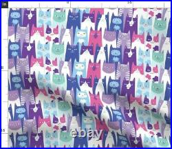 Cats Colorful Cats Many Cats Lots Of Cats Spoonflower Fabric by the Yard