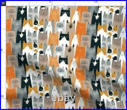 Cats Lots Of Cats Cats Colorful Cats Spoonflower Fabric by the Yard
