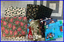 Christmas Fabric Cotton Lot 2+ Yards Total Lots Of Patterns Holiday Winter