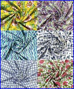 Cotton Hand Block Print Fabric Soft Cotton Garment Clothes Project 50 Yard Lot
