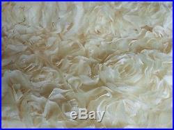 Cream 3d Gorgeous Rosette Chiffon No Pearls Floral Bridal Lace Fabric 5yds Lot