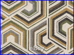 Discount Fabric Richloom Upholstery Drapery Linen Canaan Greystone Geometric QQ2