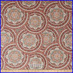 Discount Fabric Richloom Upholstery Drapery Sapphire Coral Medallion OO25