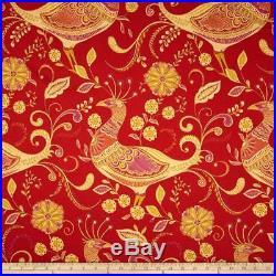 Discount Fabric Richloom Upholstery Drapery Sateen Fantasy Indiar Peacocks MM21