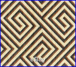 Discount Fabric Upholstery Drapery IMAN Banji Sepia Geometric Black Brown FF26